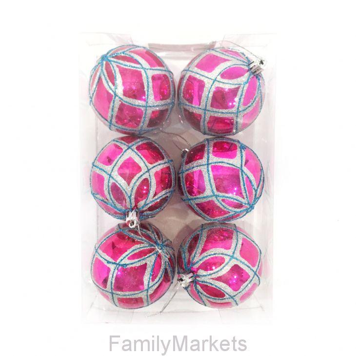 Набор елочных игрушек Шары с геометрическим рисунком 7.5 см, 6 шт
