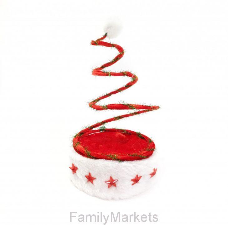 Новогодняя шапка Деда Мороза c пружинкой