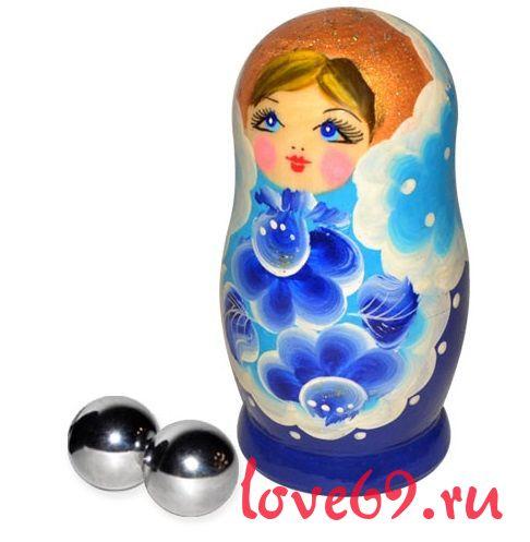 Серебристые металлические вагинальные шарике в упаковке-матрёшке