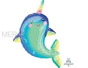 """Шар фигура """"Дельфин с радужным рогом"""""""