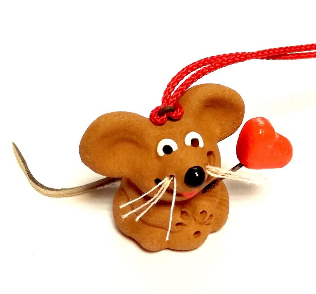 Фигурка мышка с сердечком Керамика