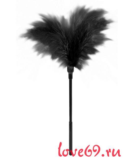 Пластиковая метелочка с чёрными пёрышками Small Feather Tickler - 32 см.