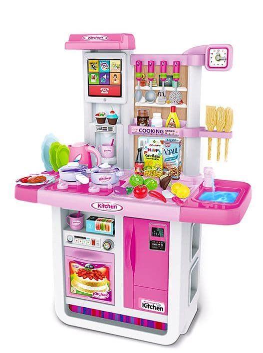 WD-A23 Детская кухня Люкс большой набор с водой, интерактивной панелью и кучей аксессуаров 100 см.