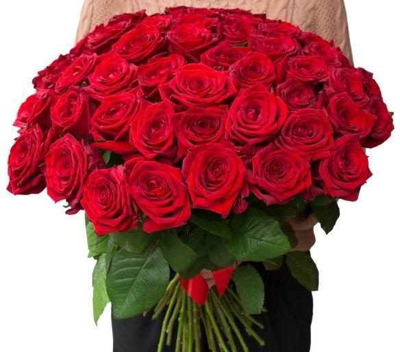 Букет из роз 51 шт, Эквадор (красные)