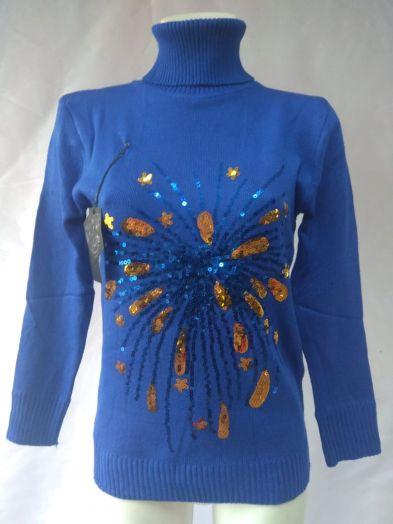 Свитер синий с пайетками в виде каплей
