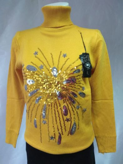 Свитер желтый с пайетками в виде каплей