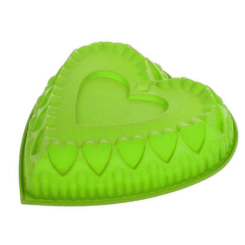 """Силиконовая форма для выпечки """"Сердце"""" Цвет Зеленый"""