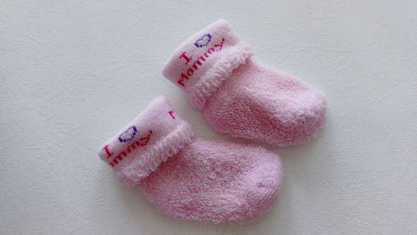 """Носочки для новорожденной """"Я люблю маму"""" розовые 1 пара размер от 0 до 6 мес"""