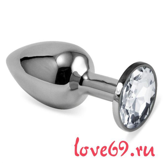 Серебристая анальная пробка с прозрачным кристаллом размера M - 8 см.