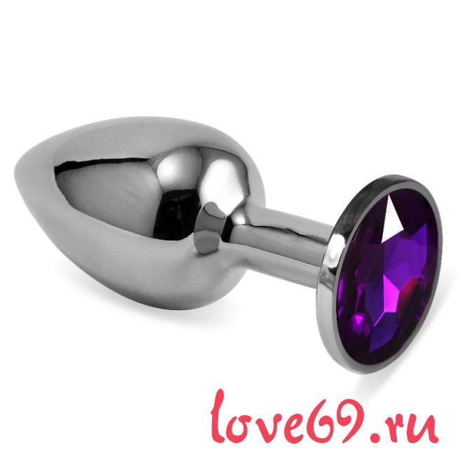 Серебристая анальная пробка с фиолетовым кристаллом размера M - 8 см.