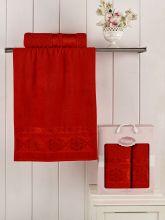 Комплект из 2-х махровых полотенец REBEKA 50*90+70*140 (красный) Арт.2660-8