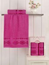 Комплект из 2-х махровых полотенец REBEKA 50*90+70*140 (розовый) Арт.2660-12