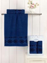 Комплект из 2-х махровых полотенец REBEKA 50*90+70*140 (синий) Арт.2660-14