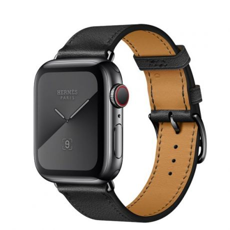 Apple Watch Hermes Series 5 Stainless Steel 44mm GPS + Cellular Space Black with Leather Single Tour