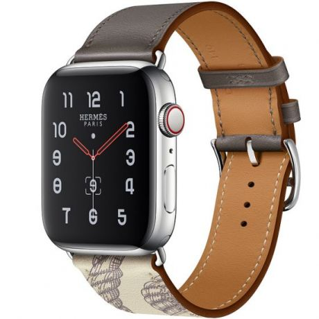 Apple Watch Hermes Series 5 Stainless Steel 44mm GPS + Cellular Étain/Béton with Leather Single Tour