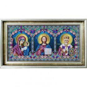 P-398 Картины Бисером. Икона тройная (Спаситель, Божья Матерь Казанская, Святой Николай Чудотворец)