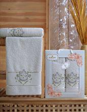 Комплект из 2-х махровых полотенец  Flowers 50*90+70*140 Арт.554.04