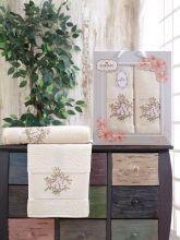 Комплект из 2-х махровых полотенец  Flowers 50*90+70*140 Арт.556.01