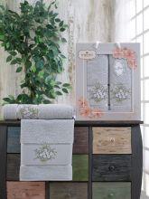 Комплект из 2-х махровых полотенец  Flowers 50*90+70*140 Арт.556.04