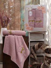 Комплект из 2-х махровых полотенец  Flowers 50*90+70*140 Арт.557.02