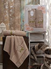 Комплект из 2-х махровых полотенец  Flowers 50*90+70*140 Арт.557.09