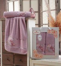 Комплект из 2-х махровых полотенец  Flowers 50*90+70*140 Арт.558.02