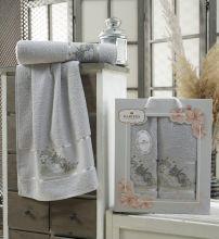Комплект из 2-х махровых полотенец  Flowers 50*90+70*140 Арт.558.04