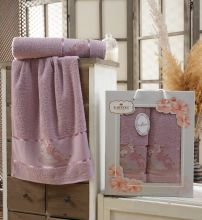 Комплект из 2-х махровых полотенец  Flowers 50*90+70*140 Арт.558.07