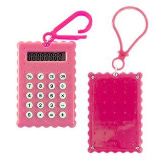Брелок 8-разрядный калькулятор Печенька, Цвет: Розовый
