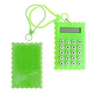 Брелок 8-разрядный калькулятор Печенька, Цвет: Зелёный