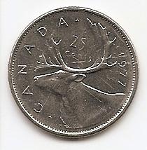 25 центов Канада 1977 (регулярный выпуск)