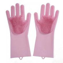 Многофункциональные силиконовые перчатки Magic Brush, Серо-розовый