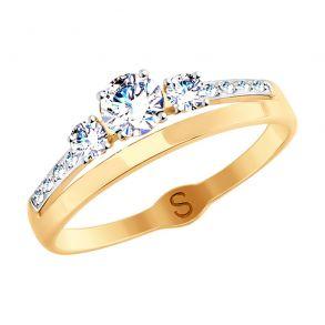 Кольцо из золота с фианитами 017891 SOKOLOV