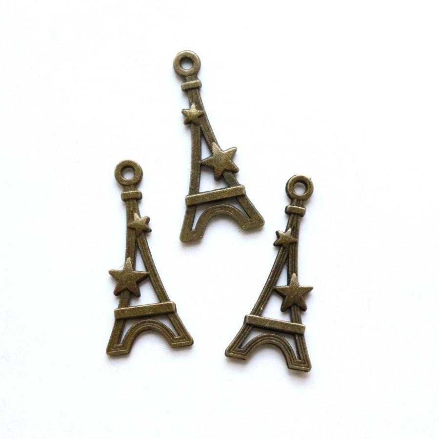 Подвески металлические, Эйфелева башня со звездой, 30*13мм, бронза, 4 шт/упак