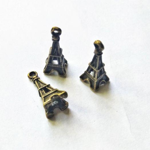 Подвески металлические,Эйфелева башня 3Д, 23*10мм, бронза, 3 шт/упак
