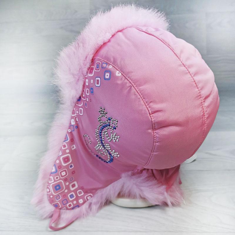 язд1148-4747 Шапка-ушанка из плащевки Ящерица розовый/розовый р-р 54