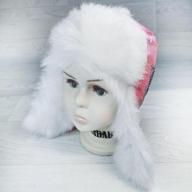 язд1148-6203 Шапка-ушанка из плащевки Ящерица фуксия/белый р-р 52