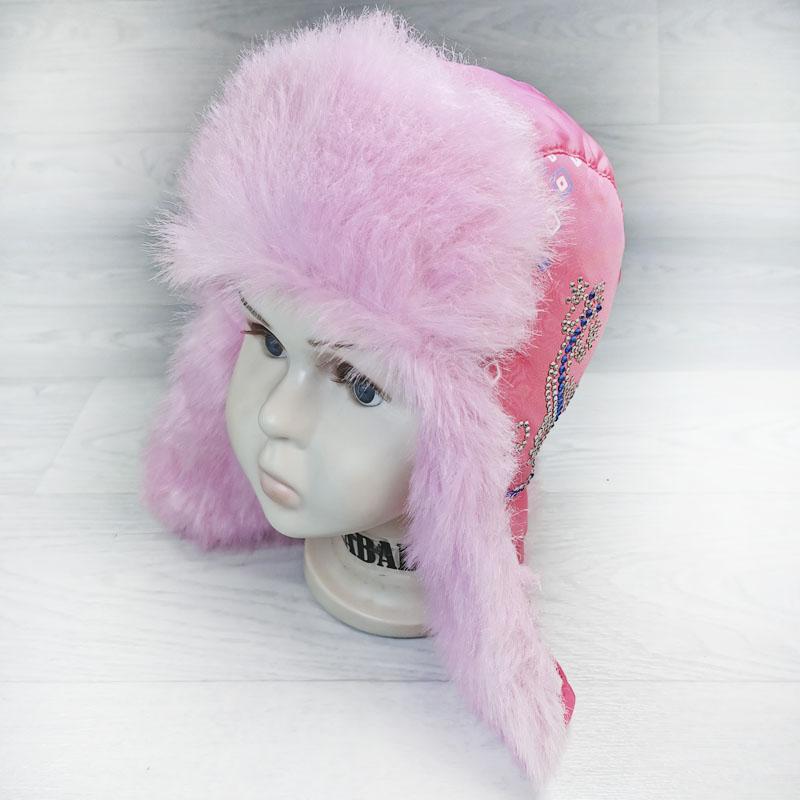 язд1148-6247 Шапка-ушанка из плащевки Ящерица фуксия/розовый р-р 52