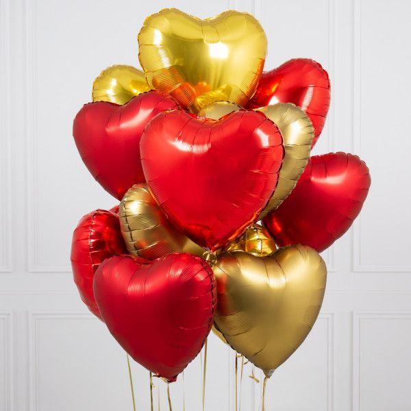 Букет из золотых воздушных сердец MIX