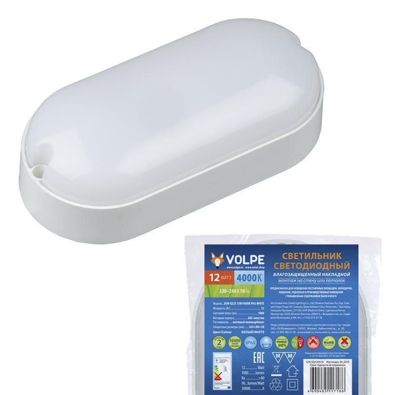 Потолочный светодиодный светильник (UL-00005134) Volpe ULW-Q225 12W/4000К IP65 White