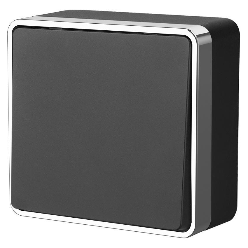Выключатель одноклавишный Werkel Gallant черный/хром WL15-01-01 4690389130205