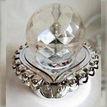 Декоративный LED-светильник на подставке Шар, 12 см, Цвет: Серебряный