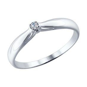 Помолвочное кольцо из серебра с бриллиантом 87010002  SOKOLOV