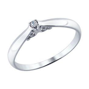 Помолвочное кольцо из серебра с бриллиантом 87010011 SOKOLOV