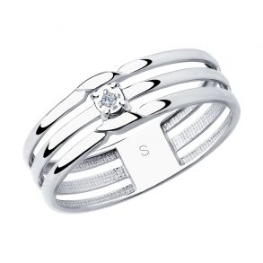 Кольцо из серебра с бриллиантом 87010024 SOKOLOV