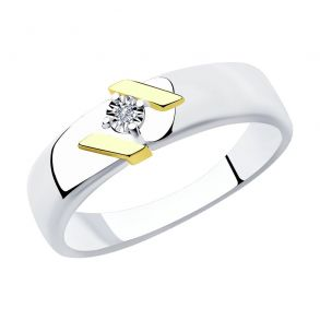 Кольцо из золочёного серебра с бриллиантом 87010031 SOKOLOV