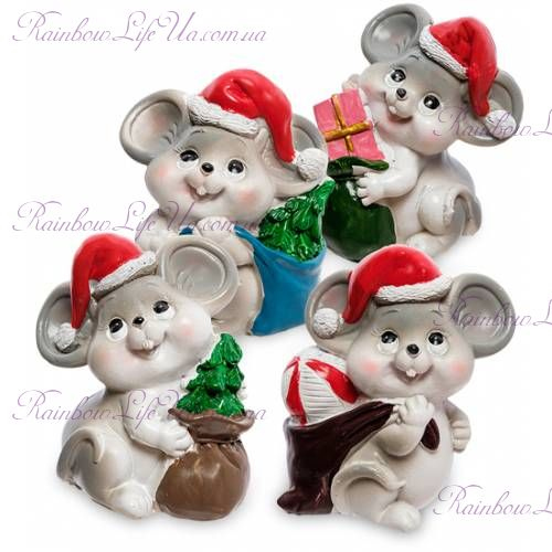 Фигурка мышка дед Мороз с мешком