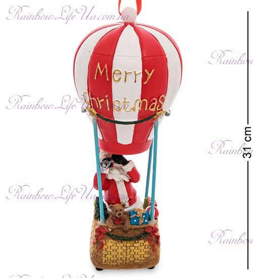 """Музыкальный новогодний шар с подсветкой """"Санта на воздушном шаре"""""""