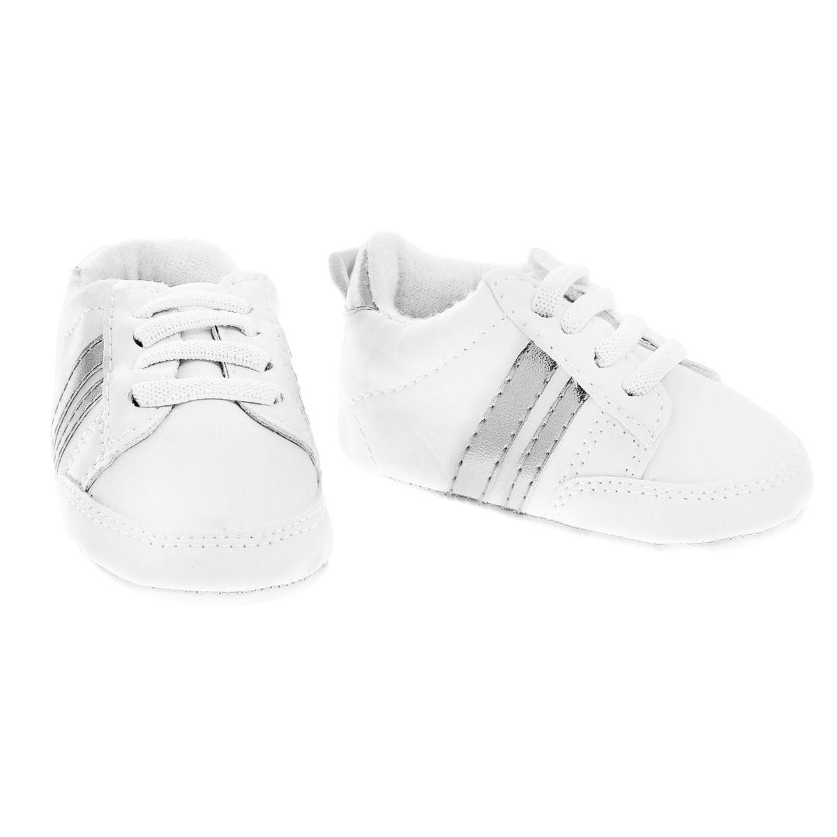 Пинетки кроссовки с полосками серебристый Luvable Friends 11182