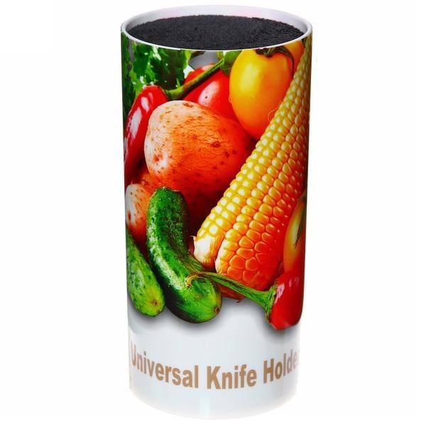 Подставка Для Ножей С Наполнителем Universal Knife Holder, 9х9х14 См, Узор Овощи